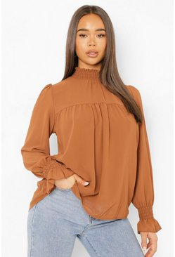 Womens Camel Shirred Neck Cuff Smock Top