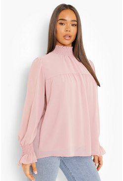 Womens Rose Shirred Neck Cuff Smock Top