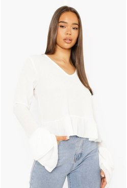 Womens White Shirred Neck Cuff Smock Top