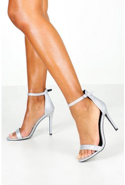 Womens Silver Glitter 2 Part Stilettos