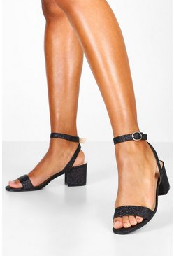 Dam Black Glitter Block Heel 2 Parts