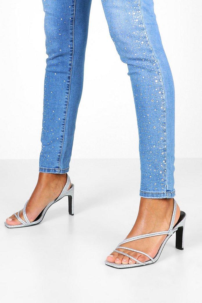 Glitter Low Heel Sandals Boohoo