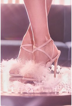 Feather Trim 2 Part Stilettos, Blush