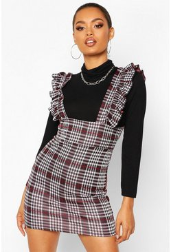 Womens Black Ruffle Strap Check Pinafore