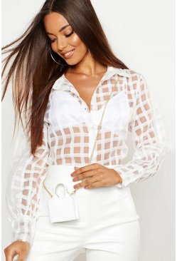 Organza Mesh Check Blouse, White