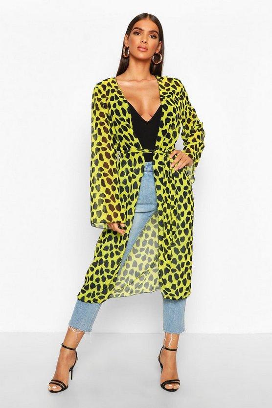 Cheetah Print Chiffon Kimono
