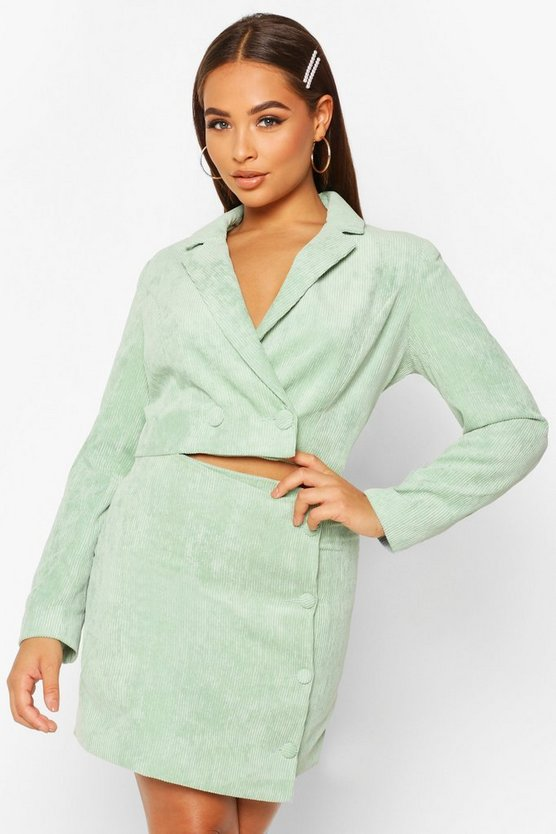 Cord Button Side Mini Skirt, Sage, Donna