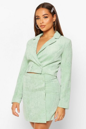 Womens Sage Cord Cropped Button Front Blazer
