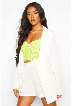 Double Breasted Belted Blazer, Cream, Donna
