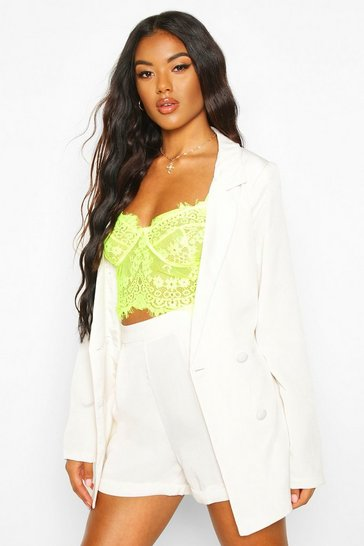 Womens Cream Double Breasted Belted Blazer