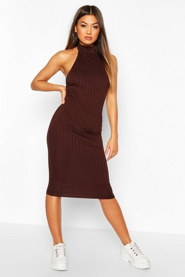 Chocolate Ribbed Racer Front Midi Bodycon Dress