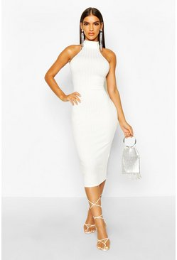 Ivory Ribbed Racer Front Midi Bodycon Dress