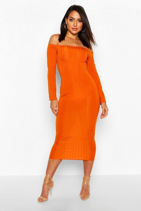 Mustard Ribbed Off The Shoulder Midaxi Dress