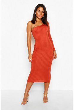 Ribbed One Shoulder Midi Dress, Ginger, Donna