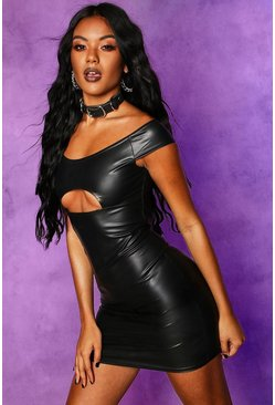 Womens Black Faux Leather Off Shoulder Cut Out Mini Dress