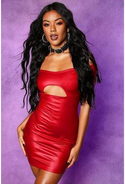 Womens Red Faux Leather Off Shoulder Cut Out Mini Dress