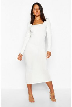 Ribbed Long Sleeve Square Neck Midaxi, Ivory, Donna