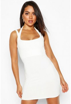 Ivory Ribbed Double Strap Bodycon Mini