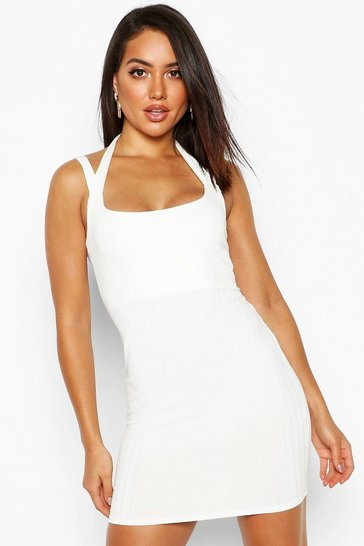 Womens Ivory Ribbed Double Strap Bodycon Mini