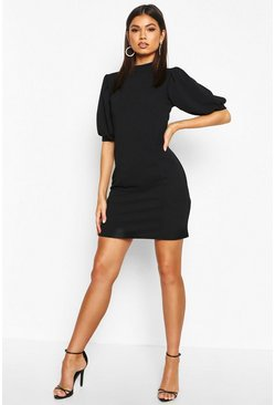 Puff Sleeve Bodycon Dress, Black, Donna