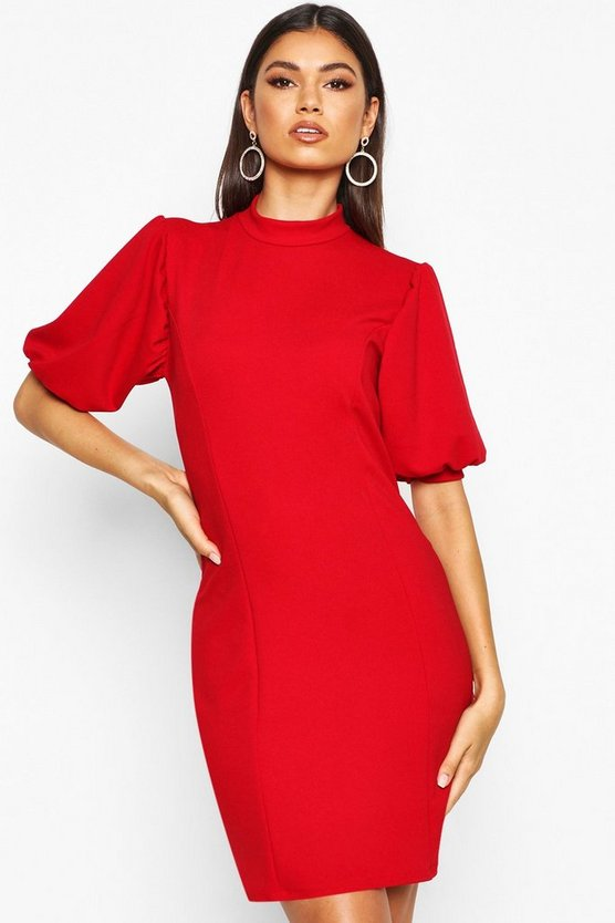 Womens Red Puff Sleeve Bodycon Dress