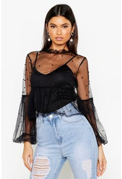 Womens Black Organza Pearl Embellished Top