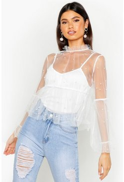 White Organza Pearl Embellished Top
