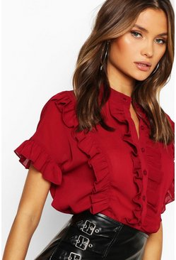 Womens Wine Ruffle Short Sleeved Shirt