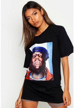 Womens Black Notorious Biggie Face Licence Tee