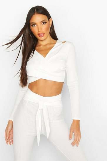 Womens White Cold Shoulder Ribbed Wrap Top