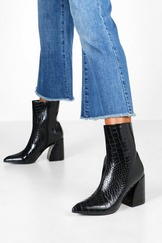 Black Croc Interest Heel Boots