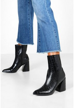 Womens Black Croc Interest Heel Boots