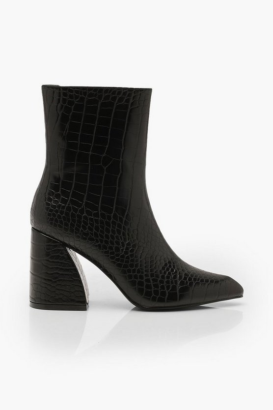 Croc Interest Heel Boots