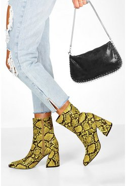 Lime Snake Interest Block Heel Boots