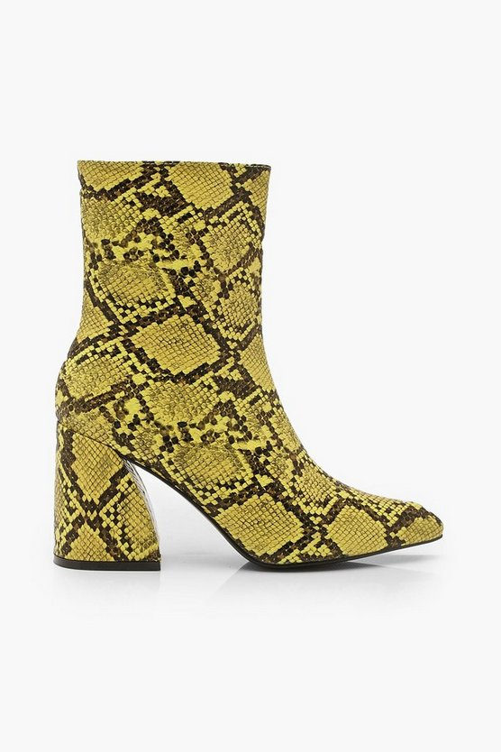 Snake Interest Block Heel Boots