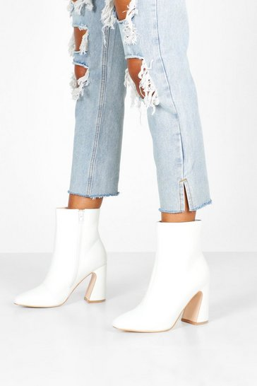 Womens White Flare Heel Pointed Shoe Boots