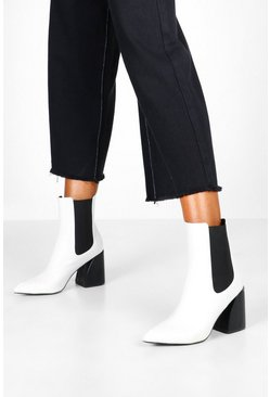 Dam White Flare Heel Chelsea Boots
