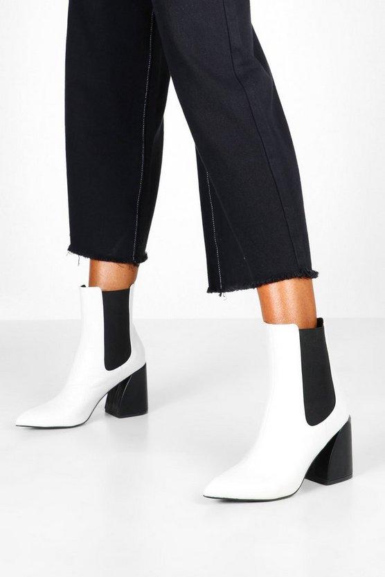 Flare Heel Chelsea Boots