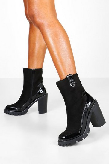 Black Mix Material Chunky Platform Chelsea Boots