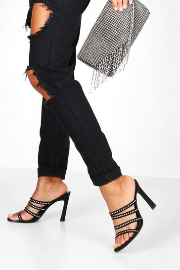 Womens Black Diamante Multi Strap Mules