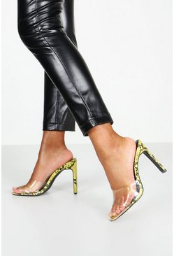 Dam Lime Metal Trim Clear Peeptoe Mules