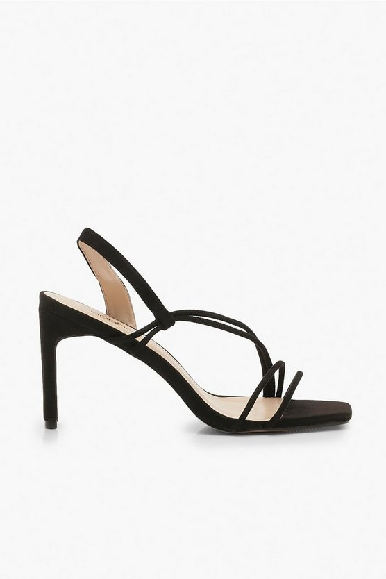 Low Heel Asymmetric Strappy Sandals