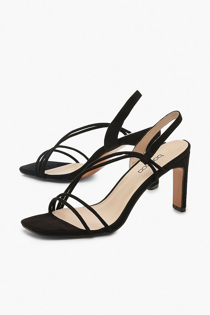 Low Heel Asymmetric Strappy Sandals | boohoo Australia