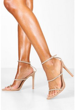 Nude Diamante Clear 3 Strap Sandals
