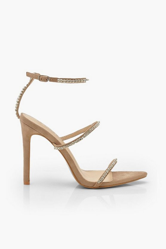 Diamante Clear 3 Strap Sandals
