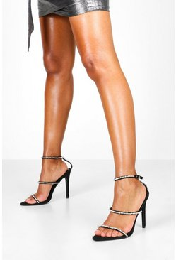 Womens Black Diamante Three Strap Stilettos
