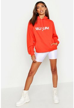 Slogan Self Love Hoodie, Orange, FEMMES