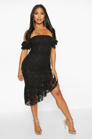 Black Off The Shoulder Lace Frill Hem Midi Dress
