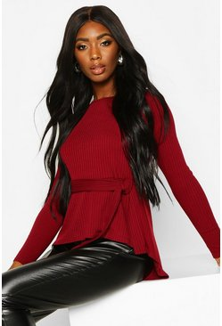 Berry Jumbo Rib Hem Peplum Long Sleeve Top
