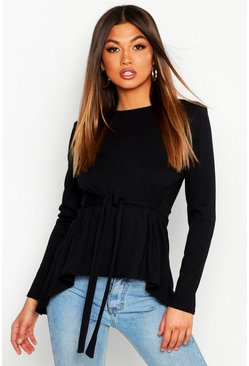Jumbo Rib Hem Peplum Long Sleeve Top, Black